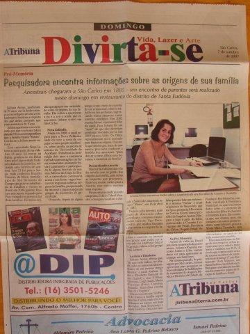 Ju Encontro Tinos jornal de Sao Carlos2007