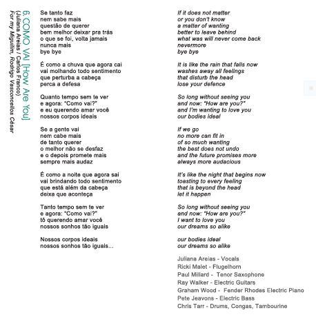 Song 6 Como Vai Juliana Areias Bossa NOVa Baby