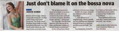 Cairns Post Juliana Areias 1 June 2016 Just don't blame it on bossa nova -Kenstin Kehren