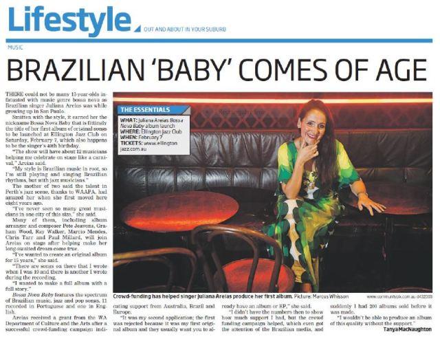 COMMUNITY NEWS ARTICLE JULIANA AREIAS BOSSA NOVA BABY