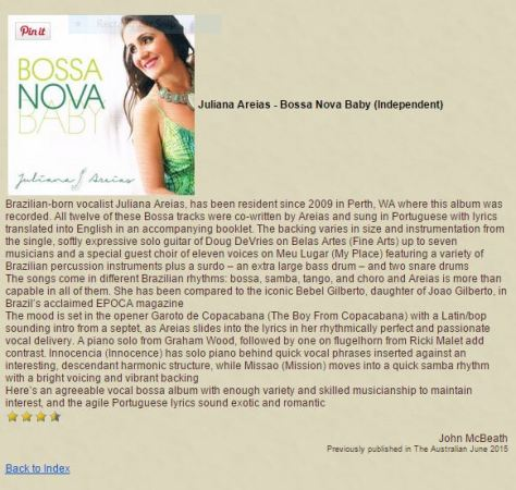 Jazz and Beyong CD Review John McBeath Peter Wokener Juliana Areias Bossa Nova Baby
