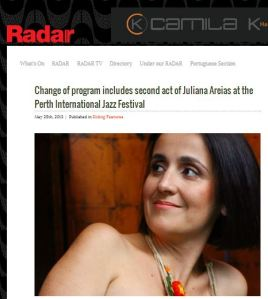 Radar Magazine Change of Programa Juliana Areias Perth International Jazz Festival Victoria Newton