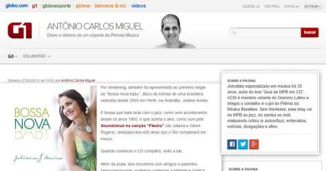 review Antonio carlos miguel O GLOBO Bossa Nova Baby CD Juliana Areias Flecha