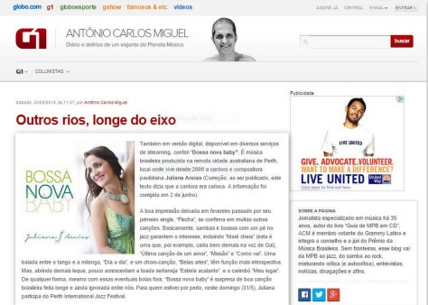 review Antonio Carlos Miguel O Globo Juliana Areias Bossa Nova Baby CD 2 June 2015