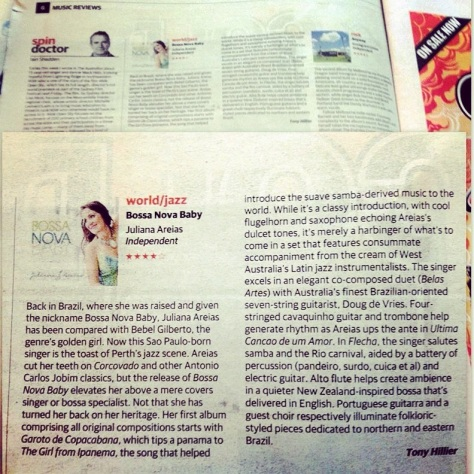 The Australian Weekend Australian review Juliana Areias Bossa Nova baby Tony Hillier