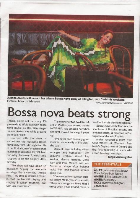 WEstern Subursbs Feb3 2015 Juliana Areias Bossa Nova Baby CD Launch