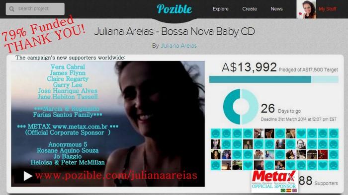 THANK YOU 9 79%  Juliana Areias Bossa Nova Baby CD Crowd Funding 5 March 2014