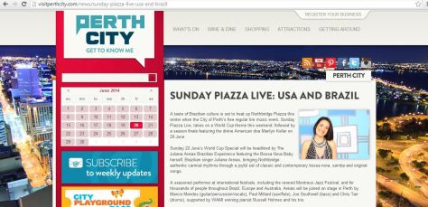 Piazza Sunday Piazza Live USA and BRAZIL  City OF Perth Juliana Areias World Cup