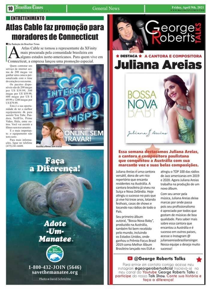 Article New York Times Brazilian Times Magazine George Roberts Juliana Areias Bossa Nova Baby April 2021