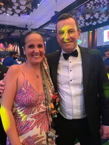 Juliana Areias and Western Australian Premier Mark McGowan at 2021 Western Australian of The Year Awards
