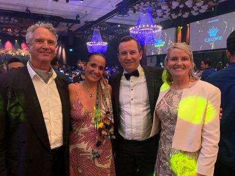 Geoffrey Drake-Brockman, Juliana Areias, Western Australian Premier Mark McGowan and Sarah McGowan at 2021 Western Australian of the Year Awards