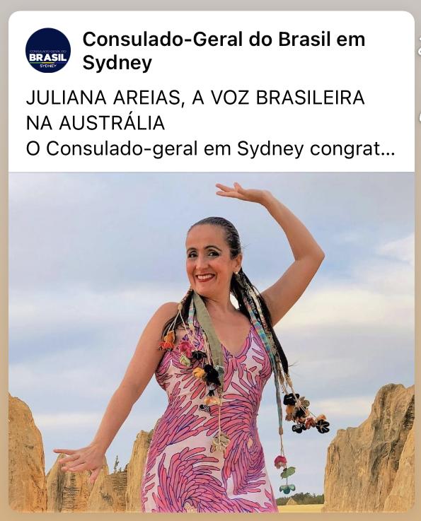 Consulado Geral do Brasil em Sydney - Juliana Areias - A voz brasileira na Australia post 18 Jun 2021 cover