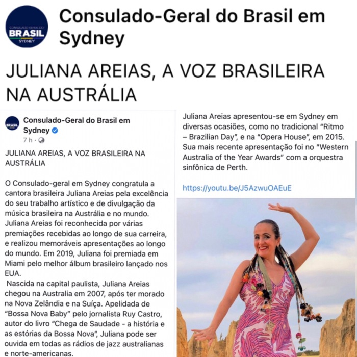 Consulado Geral do Brasil em Sydney - Juliana Areias - A voz brasileira na Australia post 18 Jun 2021 instagram square