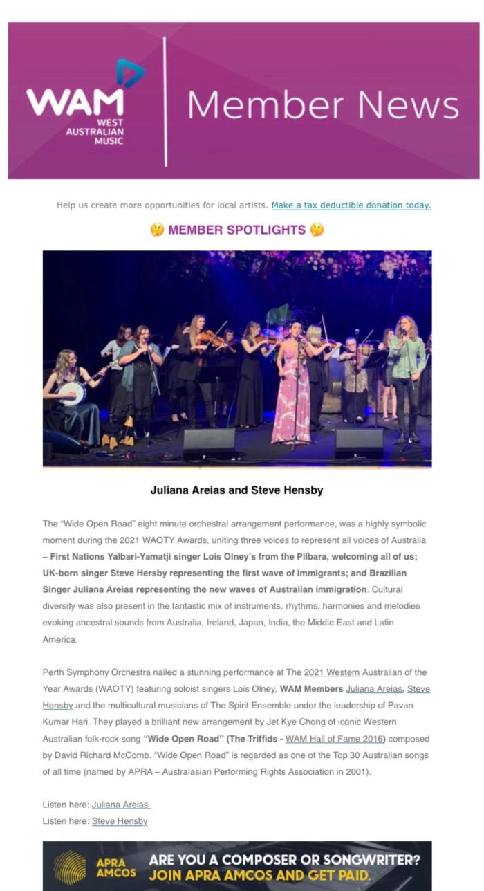 WAM NEWS Member Spotlights Juliana Areias and Steve Hensby - WAOTY PSO Western Australian of the year 15 Jun 2021 Western Australian Music